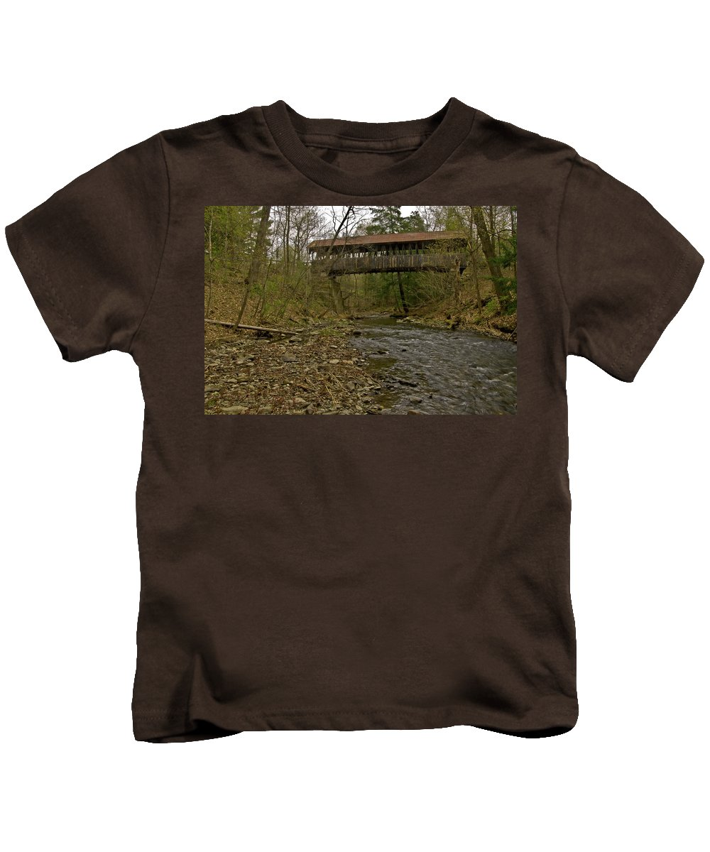new England Covered Bridges Kids T-Shirt featuring the photograph Dingleton Hill Bridge by Paul Mangold