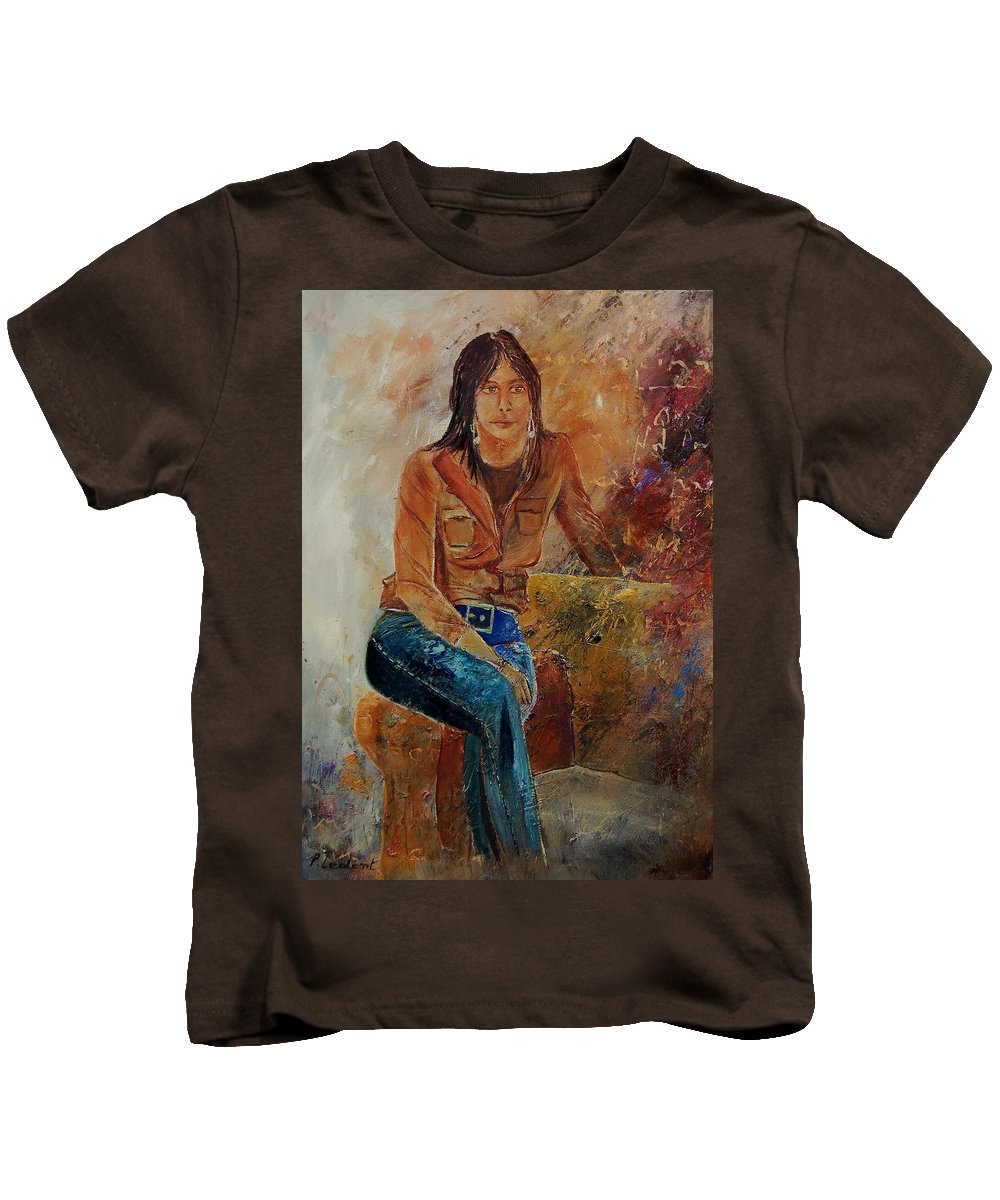Girl Kids T-Shirt featuring the painting Eglantine 579001 by Pol Ledent
