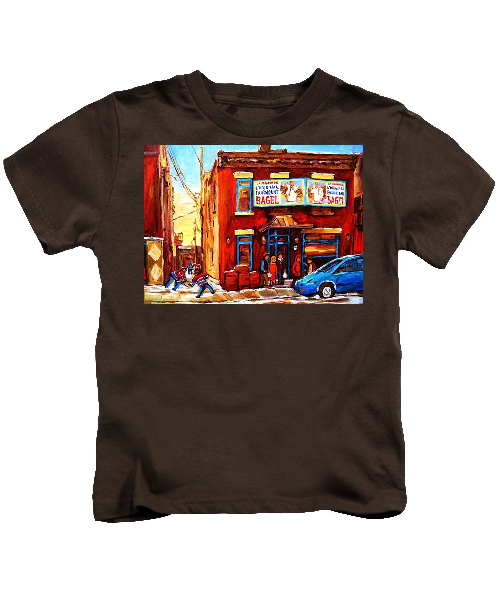 Hockey Kids T-Shirt featuring the painting Fairmount Bagel In Winter by Carole Spandau