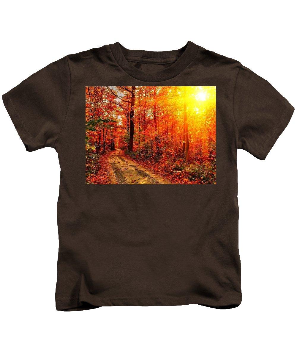 Fall Kids T-Shirt featuring the digital art Fall by Dorothy Binder