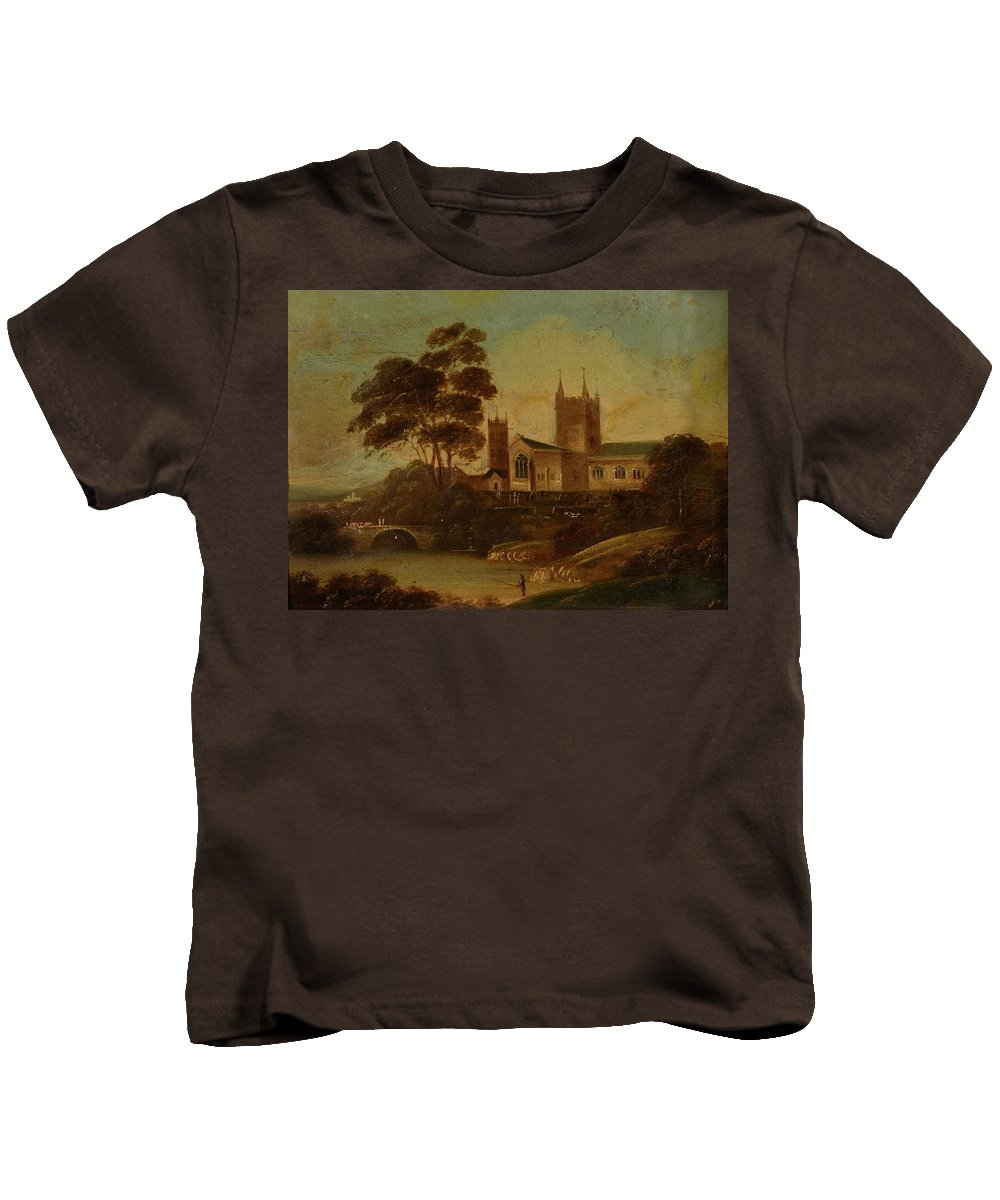 19th Century English School Fishing On The River Kids T-Shirt featuring the painting Fishing On The River by MotionAge Designs