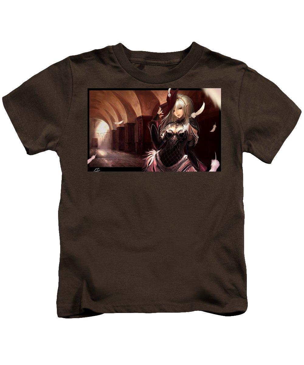 Girl Kids T-Shirt featuring the digital art Girl by Dorothy Binder