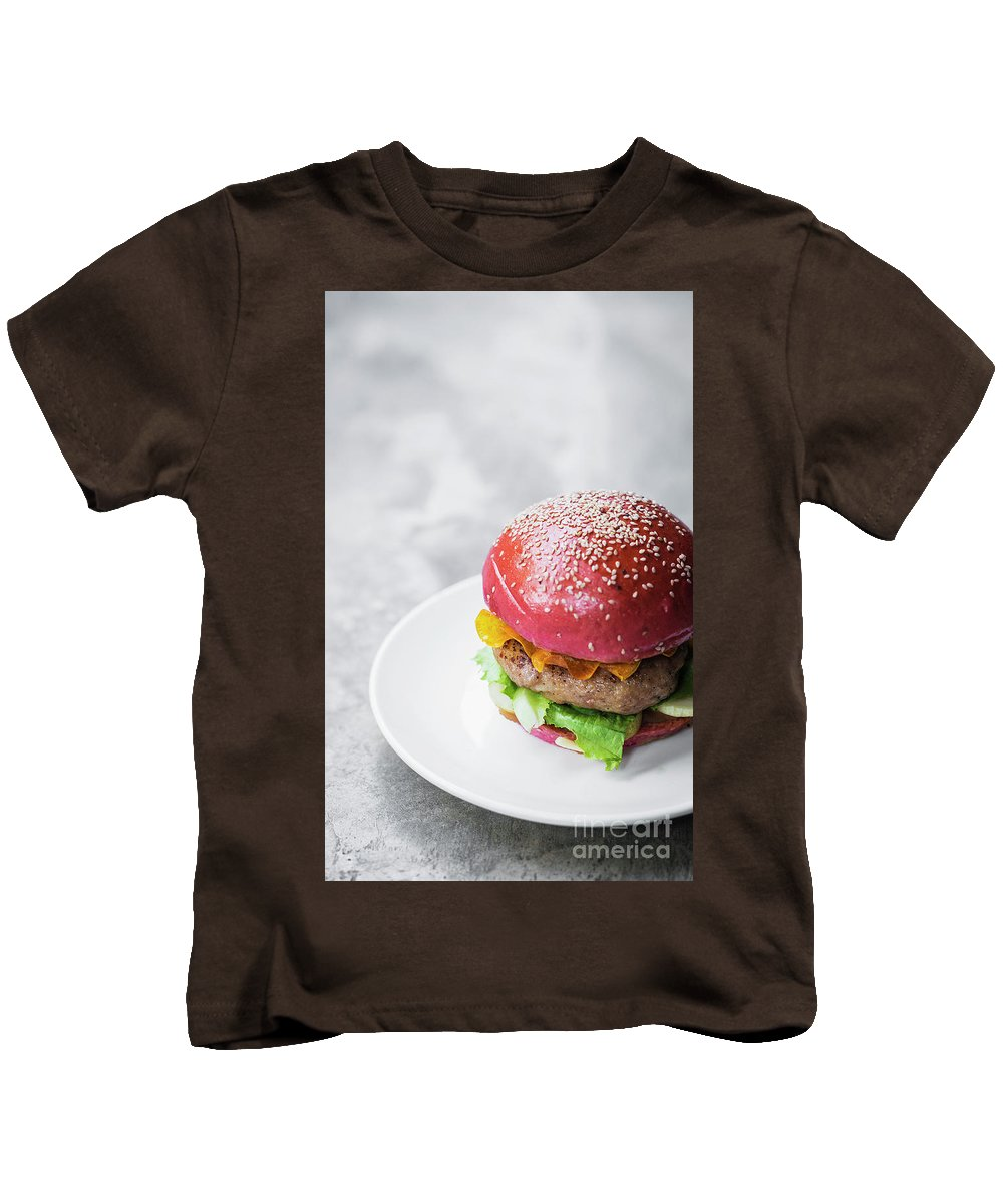 Beetroot Kids T-Shirt featuring the photograph Gourmet Novelty Chicken Burger In Beetroot Bun by Jacek Malipan