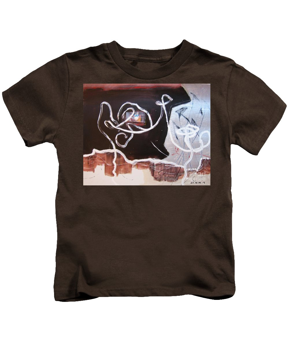 Abstract Paintings Kids T-Shirt featuring the painting Hand In Hand by Seon-Jeong Kim