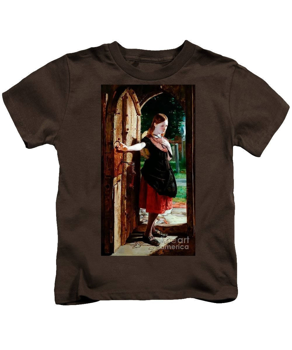 James Lobley - Little Nell Leaving The Church (the Old Curiosity Shop) 1867 Kids T-Shirt featuring the painting Little Nell Leaving The Church by MotionAge Designs