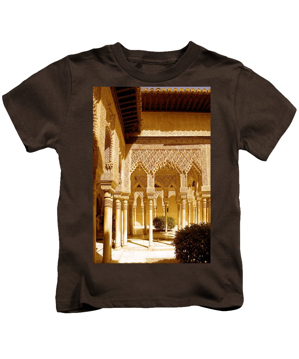 Moorish Kids T-Shirt featuring the photograph Moorish Architecture In The Nasrid Palaces At The Alhambra Granada by Mal Bray