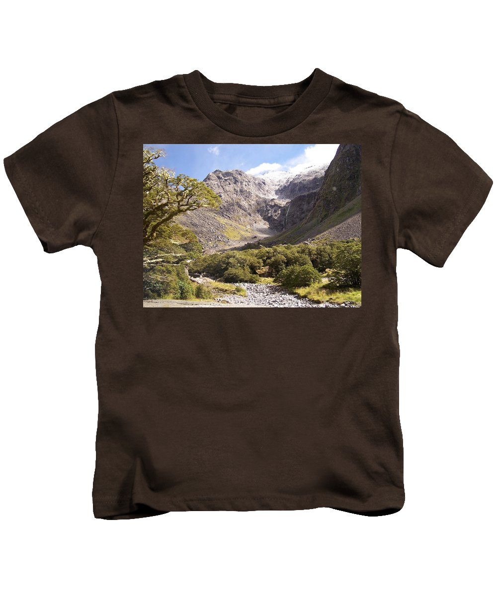 Blue Kids T-Shirt featuring the photograph New Zealand Landscape by Constance Drescher