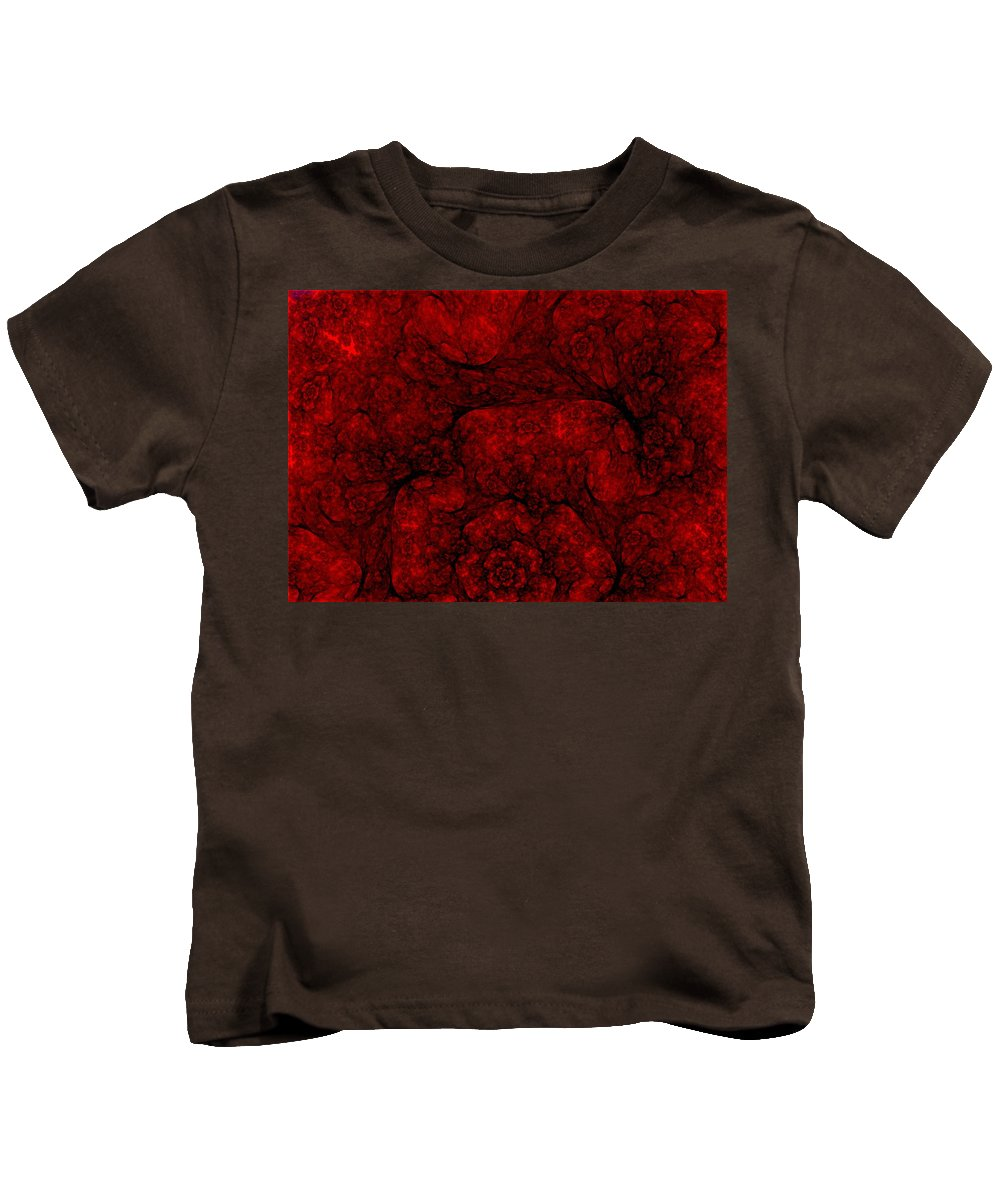 Digital Painting Kids T-Shirt featuring the digital art Red Fractal 051910 by David Lane