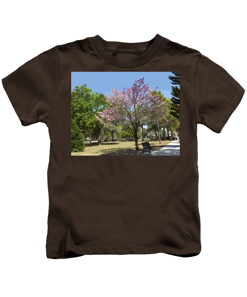Tree Kids T-Shirt featuring the painting Spring In Winter Park by Allan Hughes