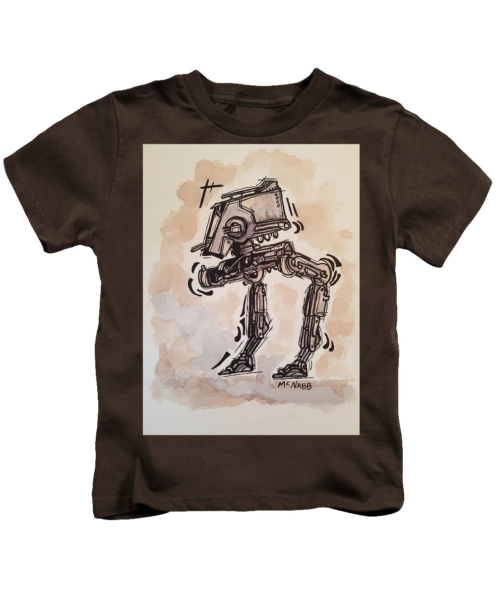 Star Kids T-Shirt featuring the painting Star Wars At-st by Johnny McNabb