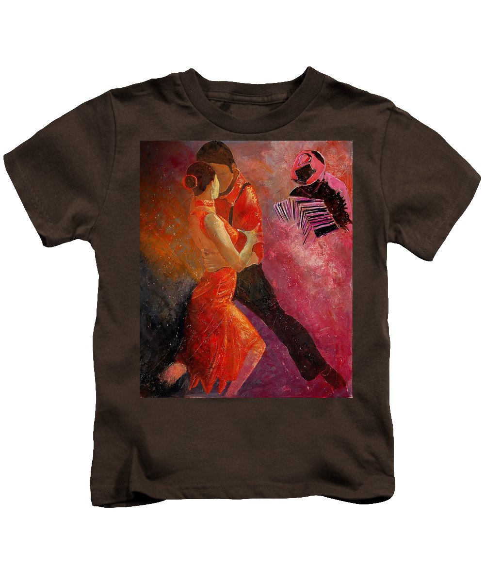 Tango Kids T-Shirt featuring the painting Tango by Pol Ledent