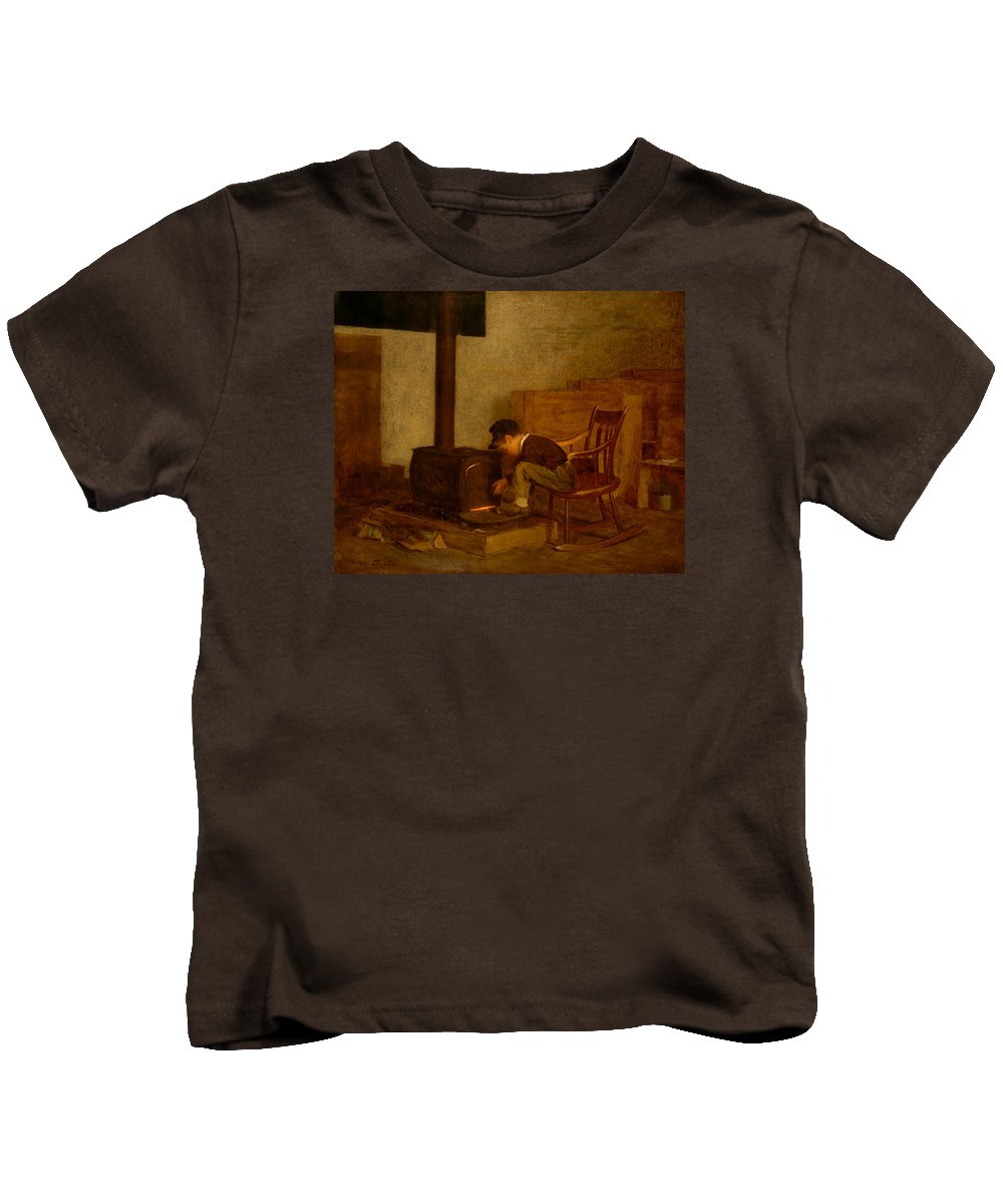 Painting Kids T-Shirt featuring the painting The Early Scholar by Mountain Dreams