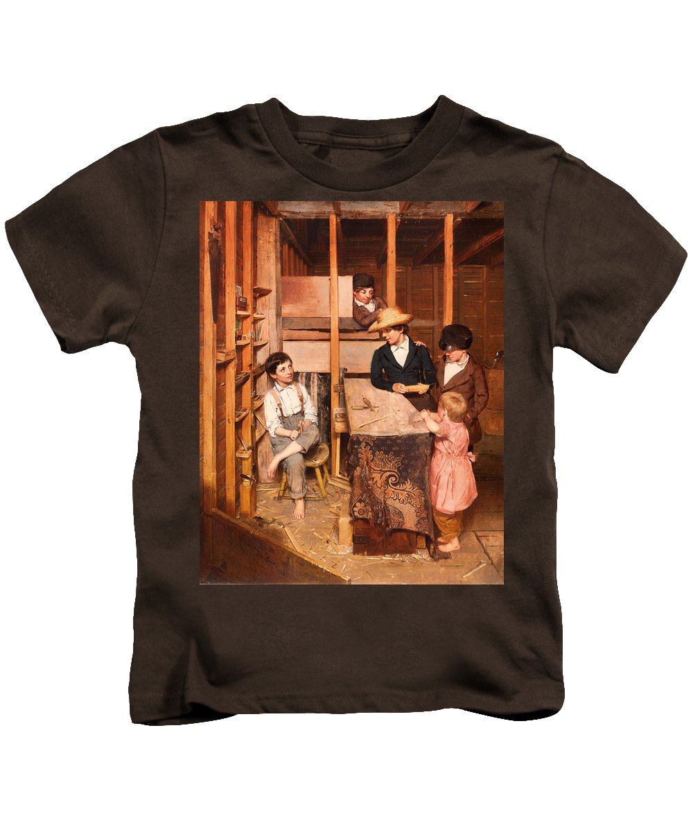 Painting Kids T-Shirt featuring the painting The Young Mechanic by Mountain Dreams