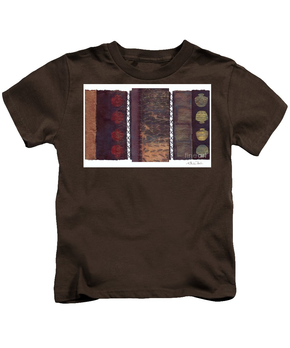 3panel Kids T-Shirt featuring the painting Three Panel Transitional Page Format by Kerryn Madsen- Pietsch