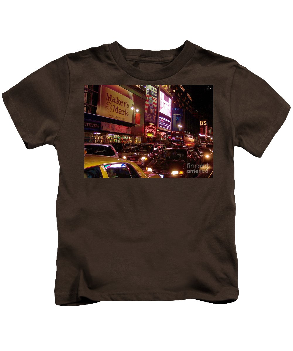 New York Kids T-Shirt featuring the photograph Times Square Night by Debbi Granruth