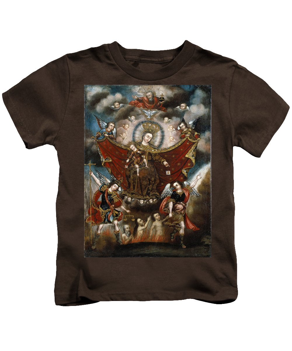 Unknown Kids T-Shirt featuring the painting Virgin Of Carmel Saving Souls In Purgatory by Unknown