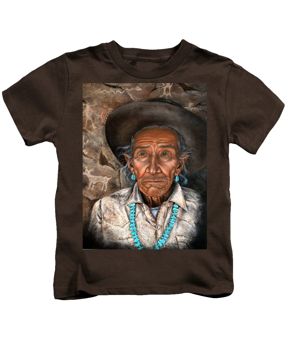 People Kids T-Shirt featuring the painting Vision Of The Past by Deb Owens-Lowe