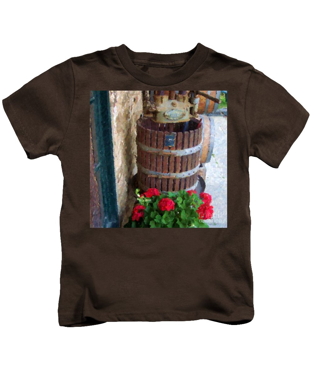 Geraniums Kids T-Shirt featuring the photograph Wine And Geraniums by Debbi Granruth
