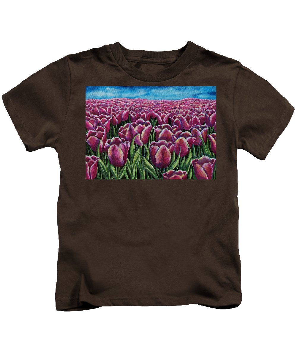 Tulips Kids T-Shirt featuring the painting 1000 Tulpis by Conni Reinecke