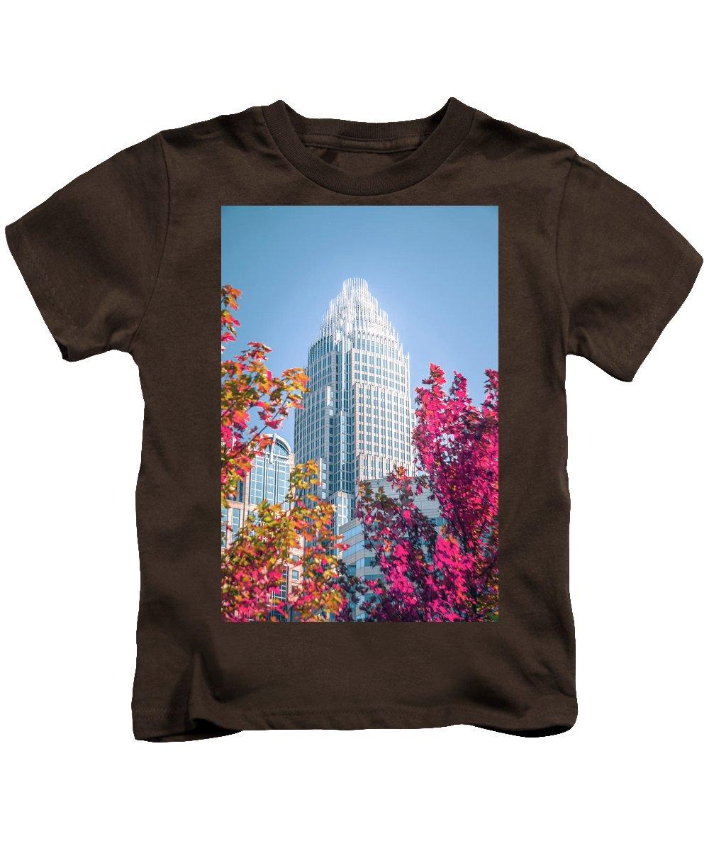 Charlotte Kids T-Shirt featuring the photograph Aututmn Season In Charlotte North Carolina by Alex Grichenko