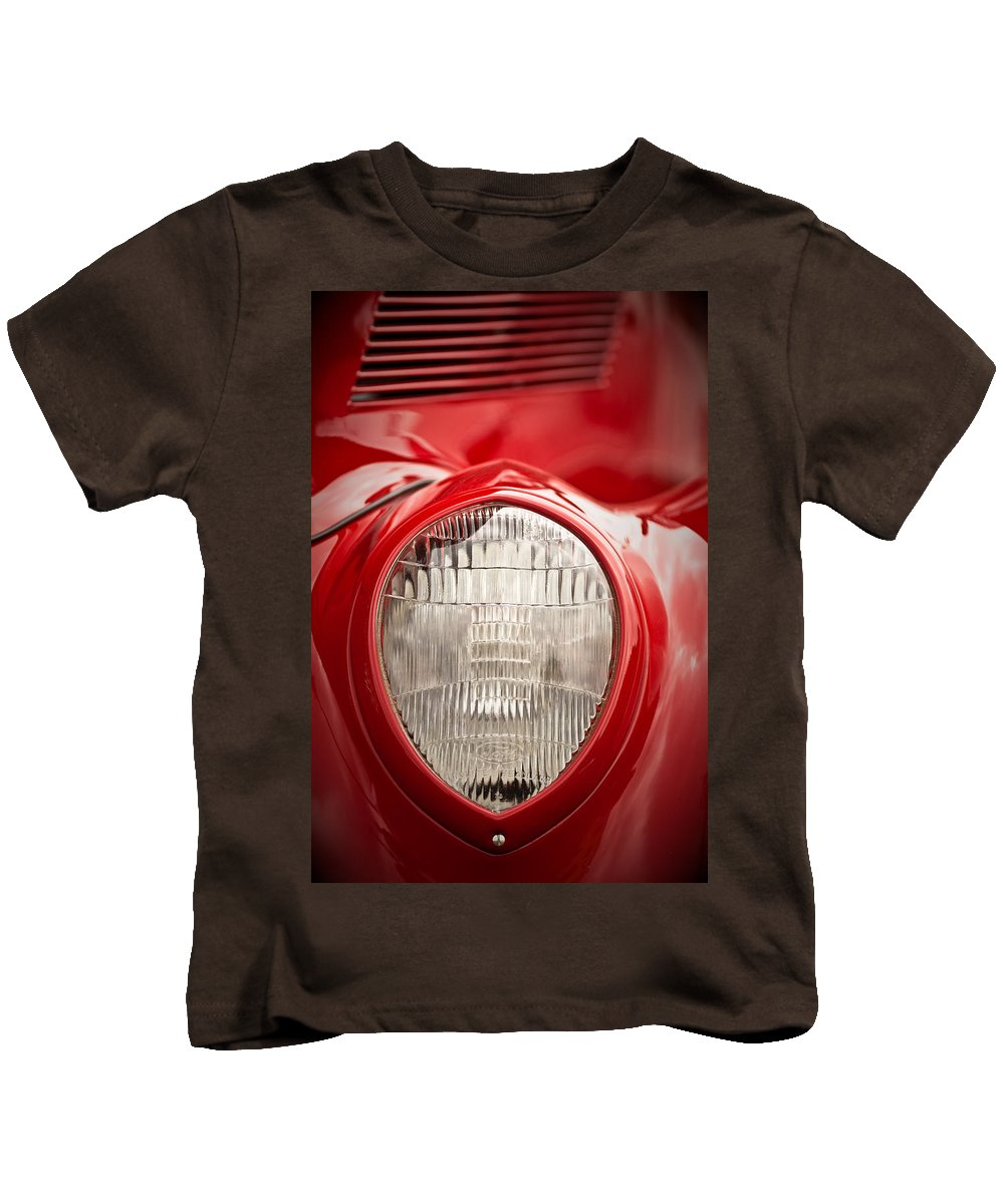 Ford Kids T-Shirt featuring the photograph 1937 Ford Headlight Detail by Onyonet Photo Studios