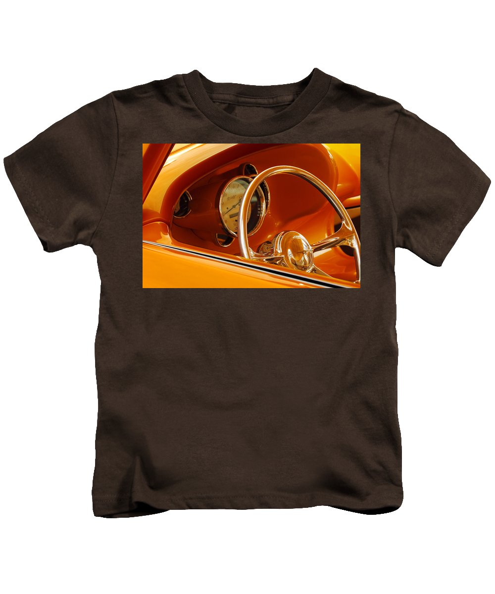 Car Kids T-Shirt featuring the photograph 1956 Chrysler Custom 2 Door Sport Wagon Steering Wheel by Jill Reger