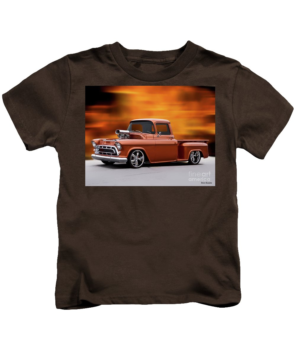 Automobile Kids T-Shirt featuring the photograph 1957 Chevrolet Stepside Pickup Ll by Dave Koontz
