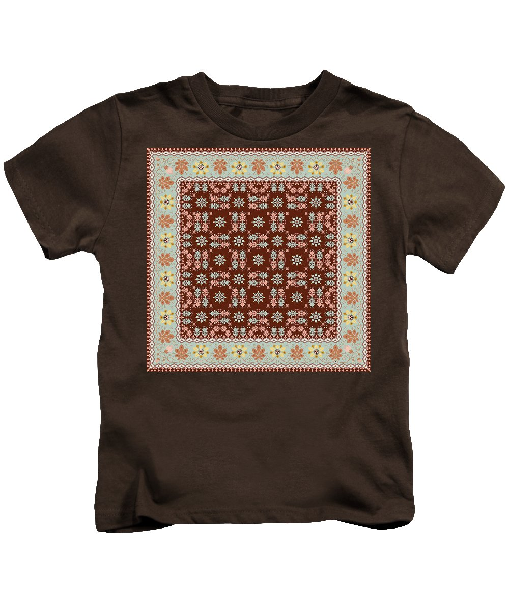 Pattern Kids T-Shirt featuring the digital art Abstract Ethnic Shawl Floral Pattern Design by Svetlana Corghencea