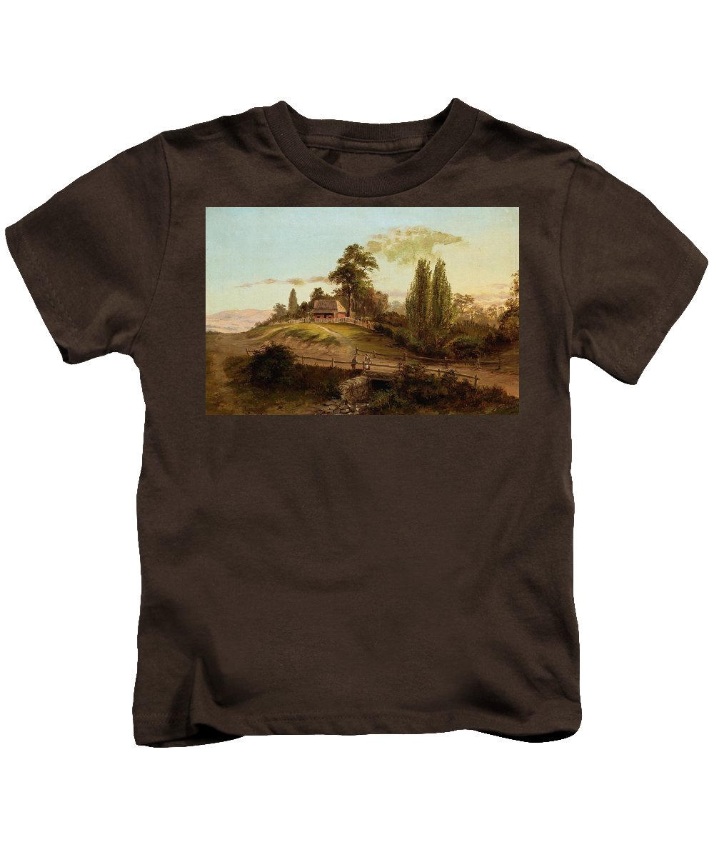 Louis Buvelot - Evening Kids T-Shirt featuring the painting Evening by Louis Buvelot