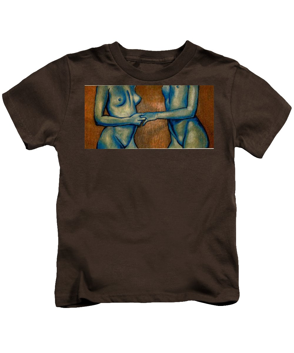 Nudes Kids T-Shirt featuring the painting Friends by Thomas Valentine