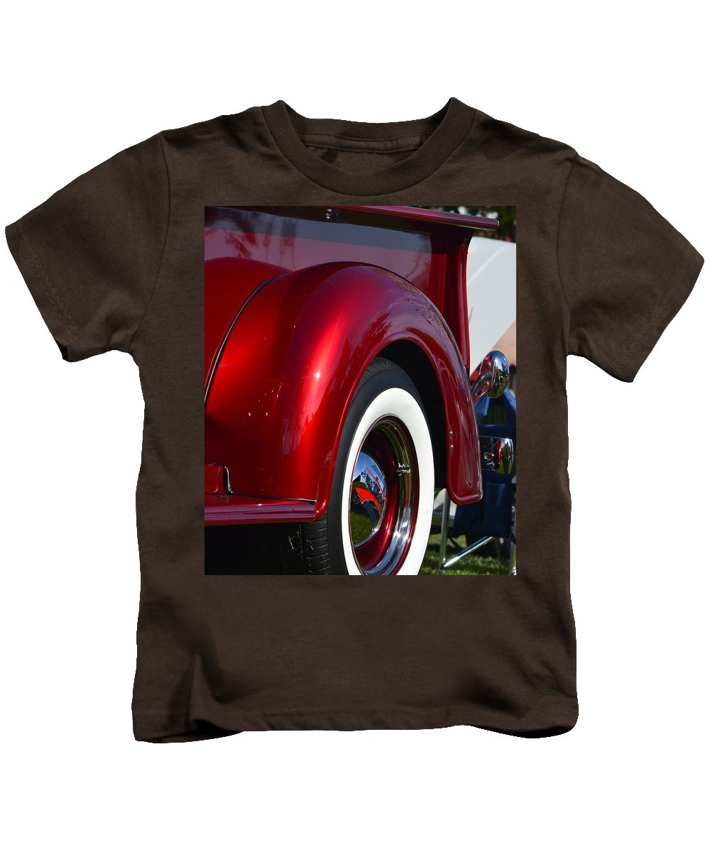 Kids T-Shirt featuring the photograph Red Chevy Pickup Fender by Dean Ferreira
