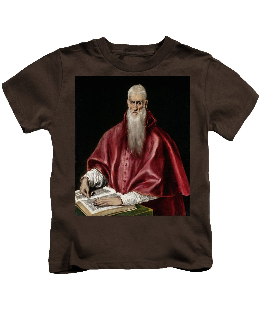 Catholic Kids T-Shirt featuring the painting Saint Jerome As Scholar by El Greco