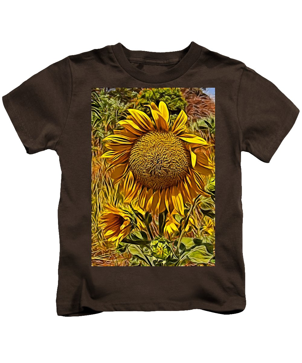 Sunflower Yellow Flower Blue Sky Grass Green Sunflower Yellow Flower Blue Sky Grass Green Framed Prints Kids T-Shirt featuring the photograph Sunflower by Galeria Trompiz