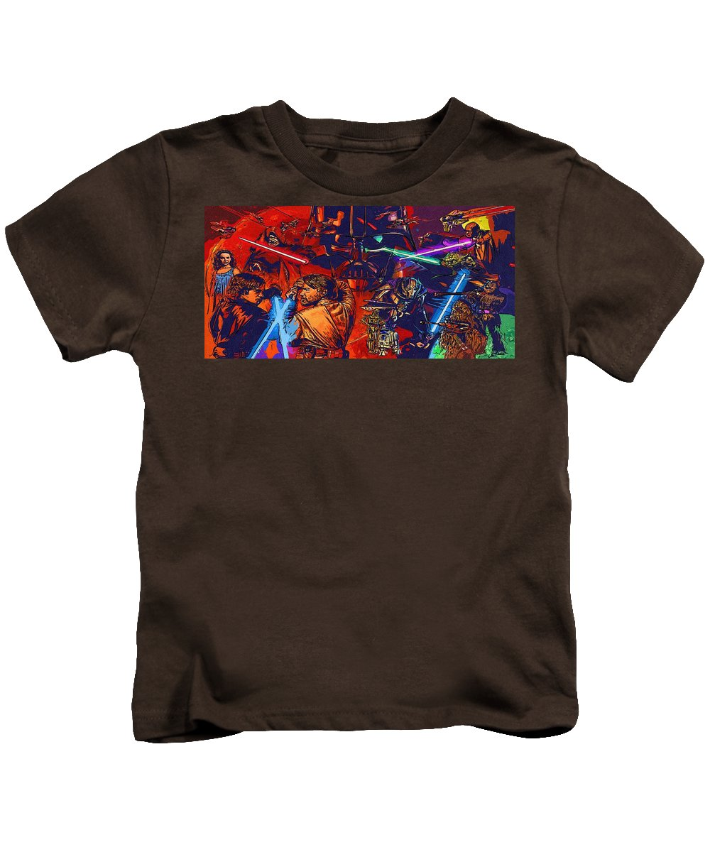 Star Wars Kids T-Shirt featuring the digital art Star Wars Galactic Heroes Poster by Larry Jones