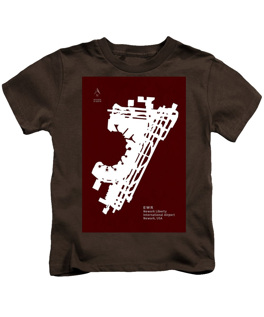 Silhouette Kids T-Shirt featuring the digital art Ewr Newark Liberty International Airport In Newark Usa Runway Si by Jurq Studio