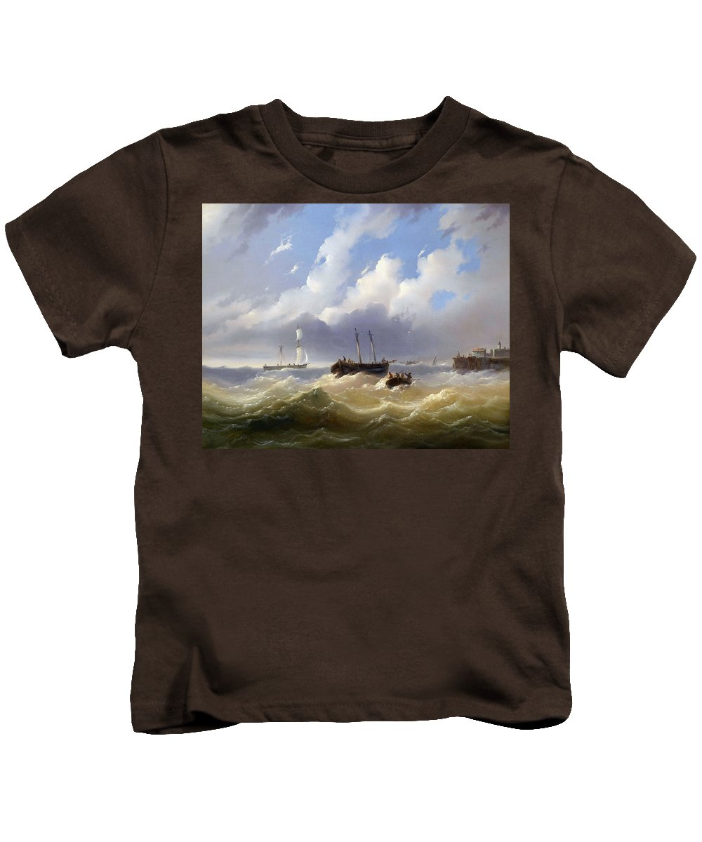 Josef Carl Berthold P�ttner (1821-1881) Ships On A Stormy Sea Kids T-Shirt featuring the painting Ships On A Stormy Sea by Josef Carl