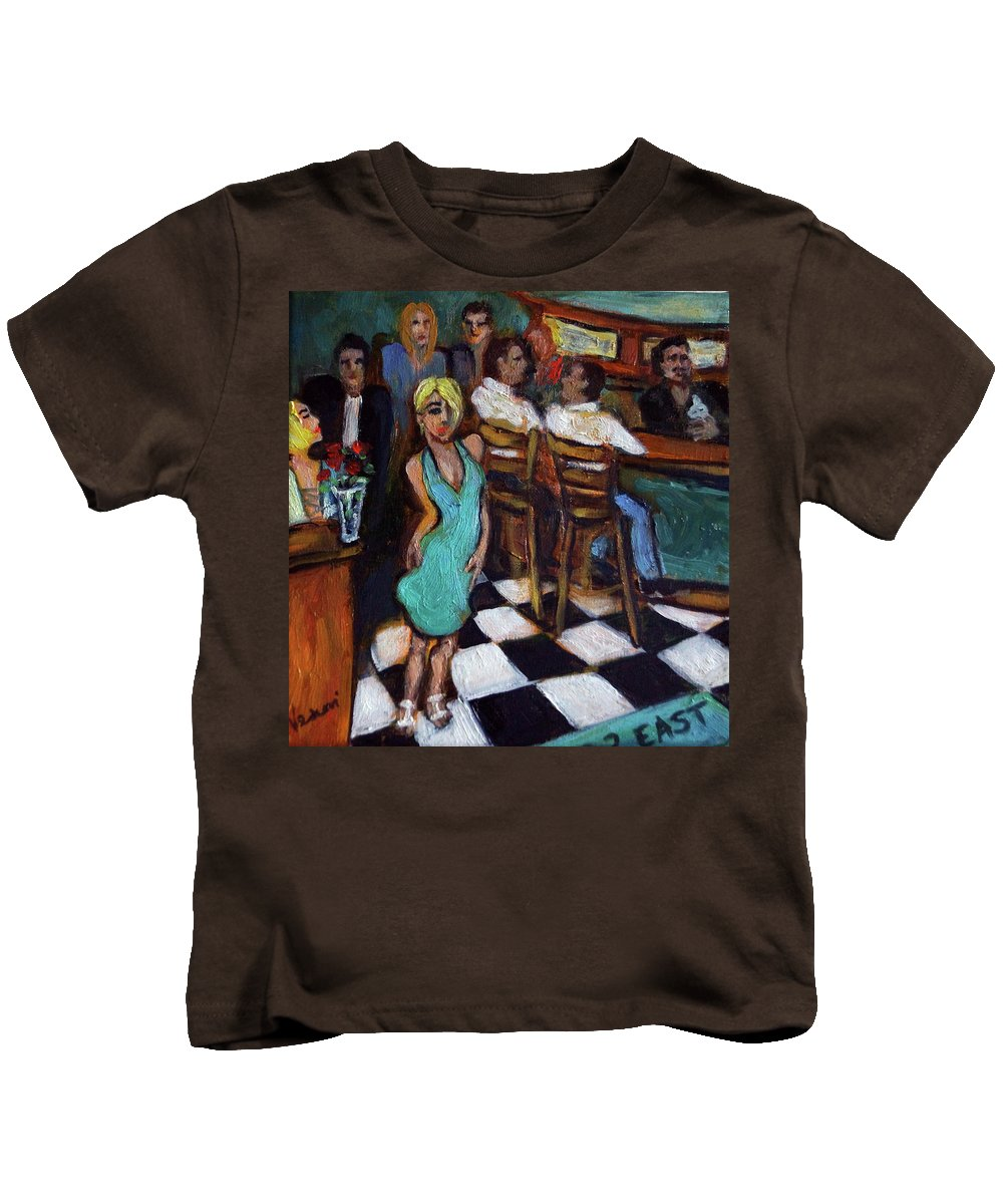 Restaurant Kids T-Shirt featuring the painting 32 East by Valerie Vescovi