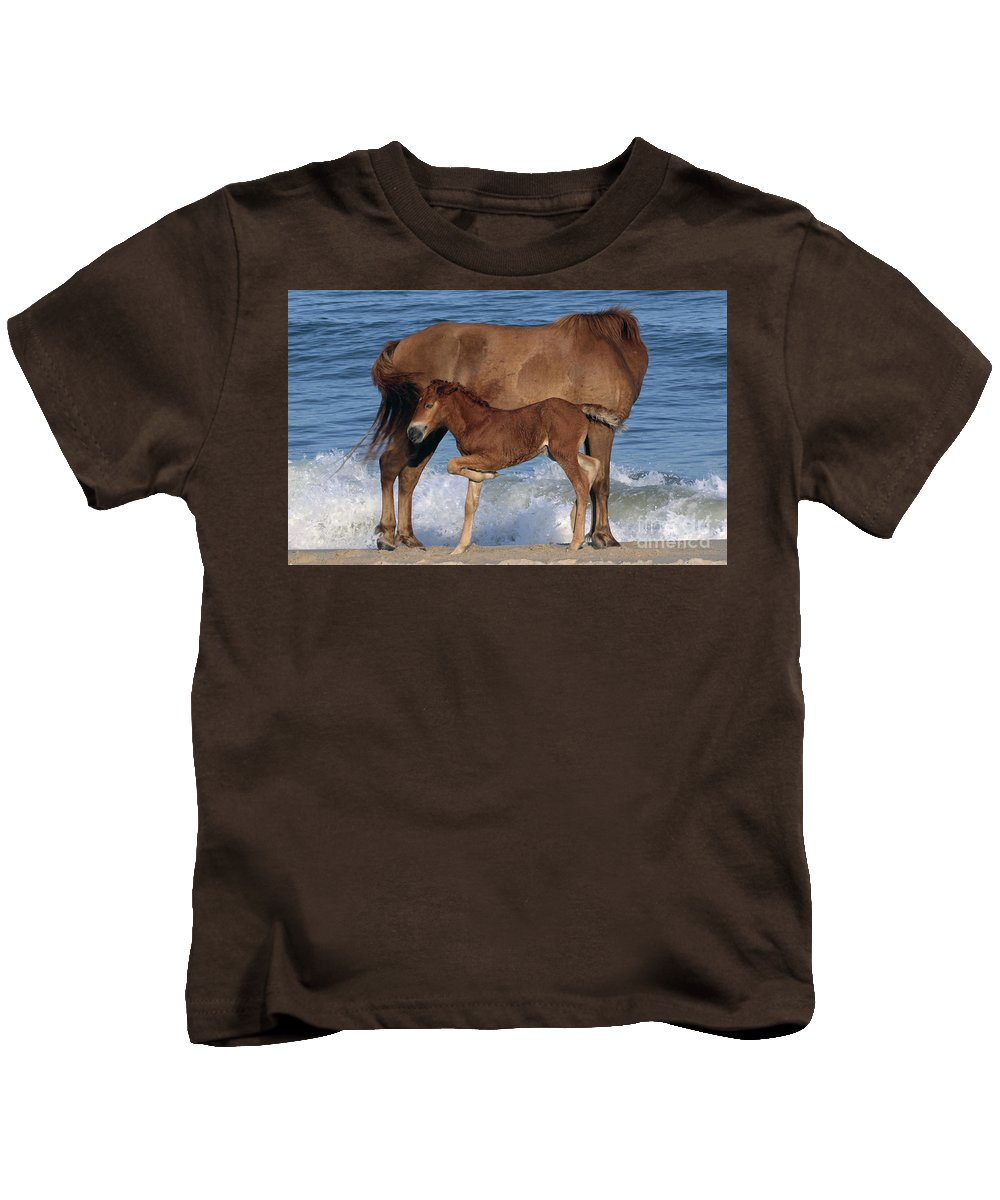 Horses Kids T-Shirt featuring the photograph 578a by Timm Andrews