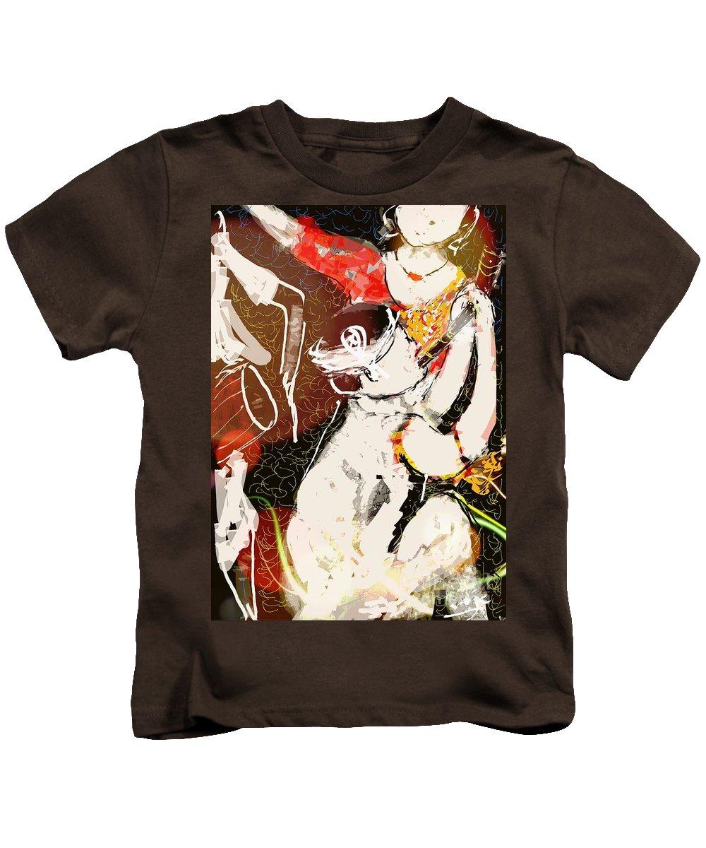 Assam Kids T-Shirt featuring the digital art Bihu Dance by Subrata Bose