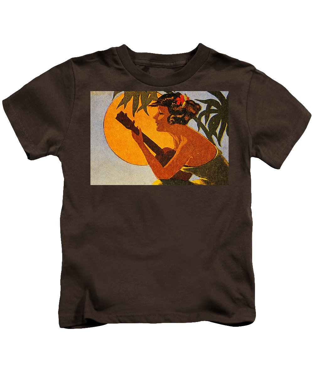 1925 Kids T-Shirt featuring the painting Vintage Hawaiian Art by Hawaiian Legacy Archive - Printscapes