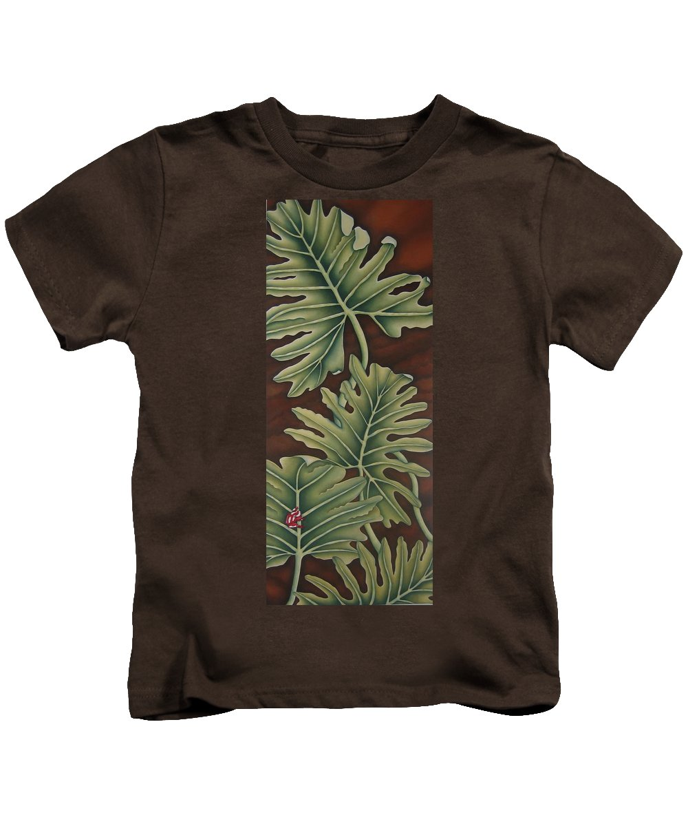Frog Kids T-Shirt featuring the painting A Frog On A Philodendron by Jeniffer Stapher-Thomas