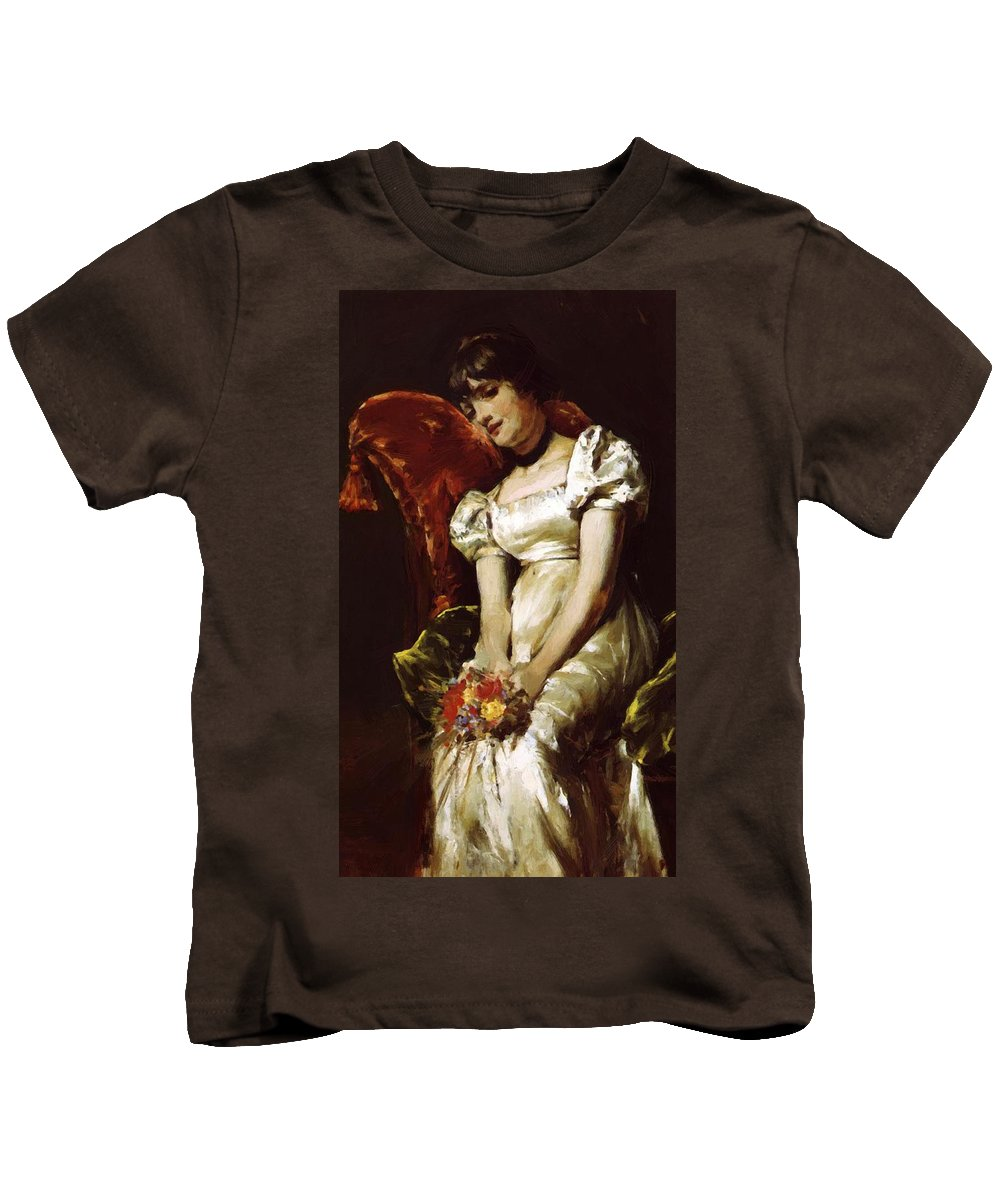 A Kids T-Shirt featuring the painting A Girl 1 by Renoir PierreAuguste