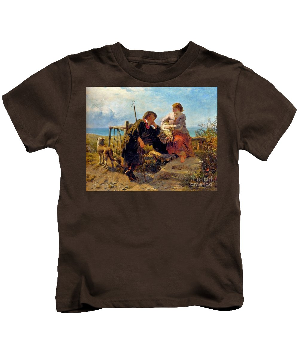James John Hill - A Moment's Rest Kids T-Shirt featuring the painting A Moment by MotionAge Designs