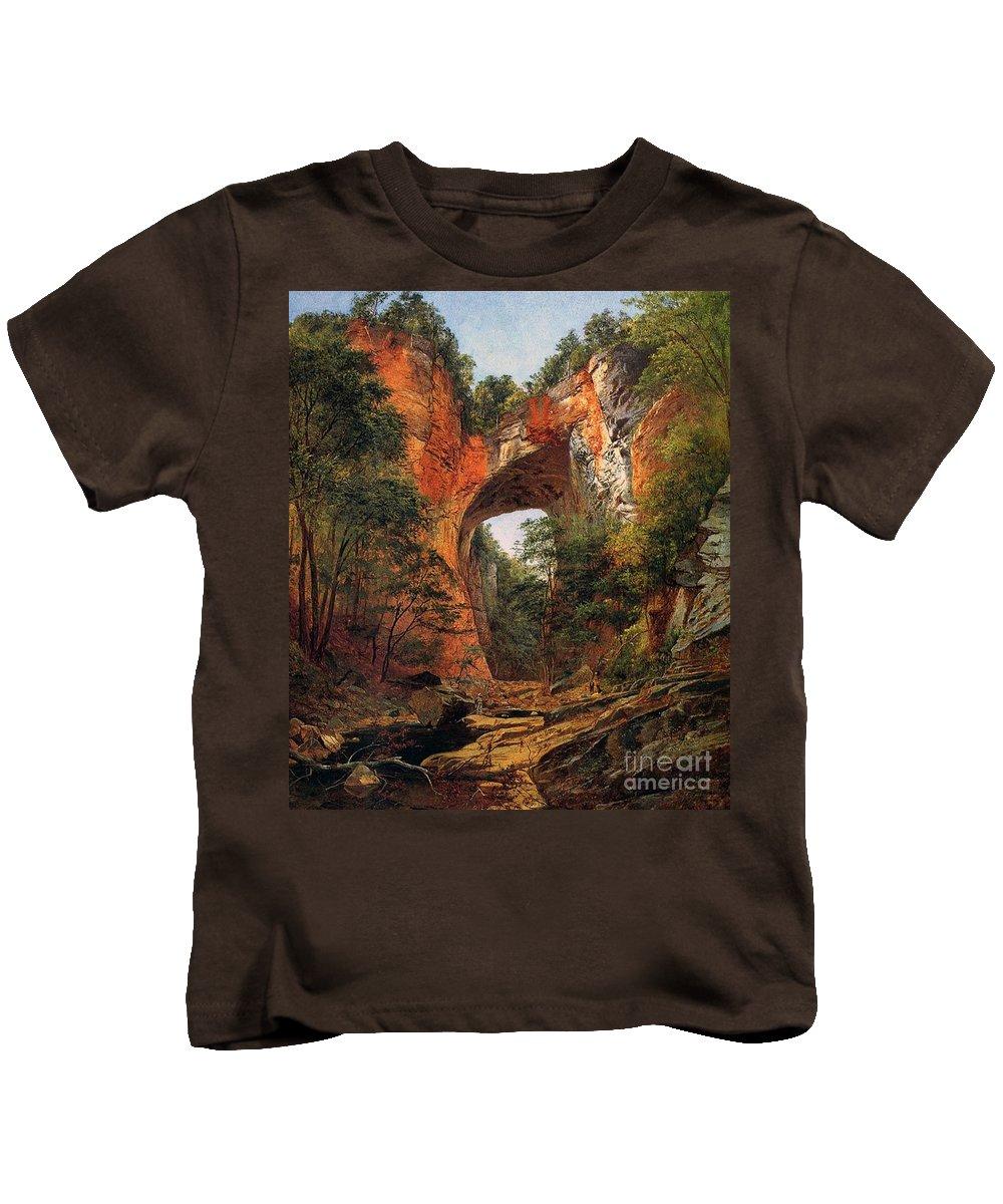 A Natural Bridge Kids T-Shirt featuring the painting A Natural Bridge In Virginia by David Johnson