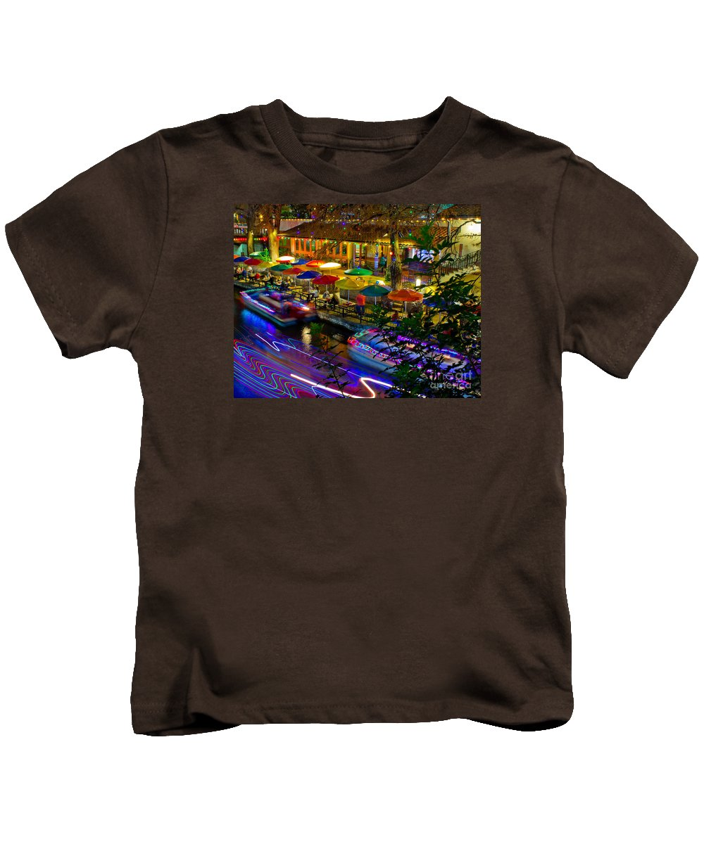 A Riverwalk Christmas Kids T-Shirt featuring the photograph A San Antonio River Walk Christmas by Michael Tidwell