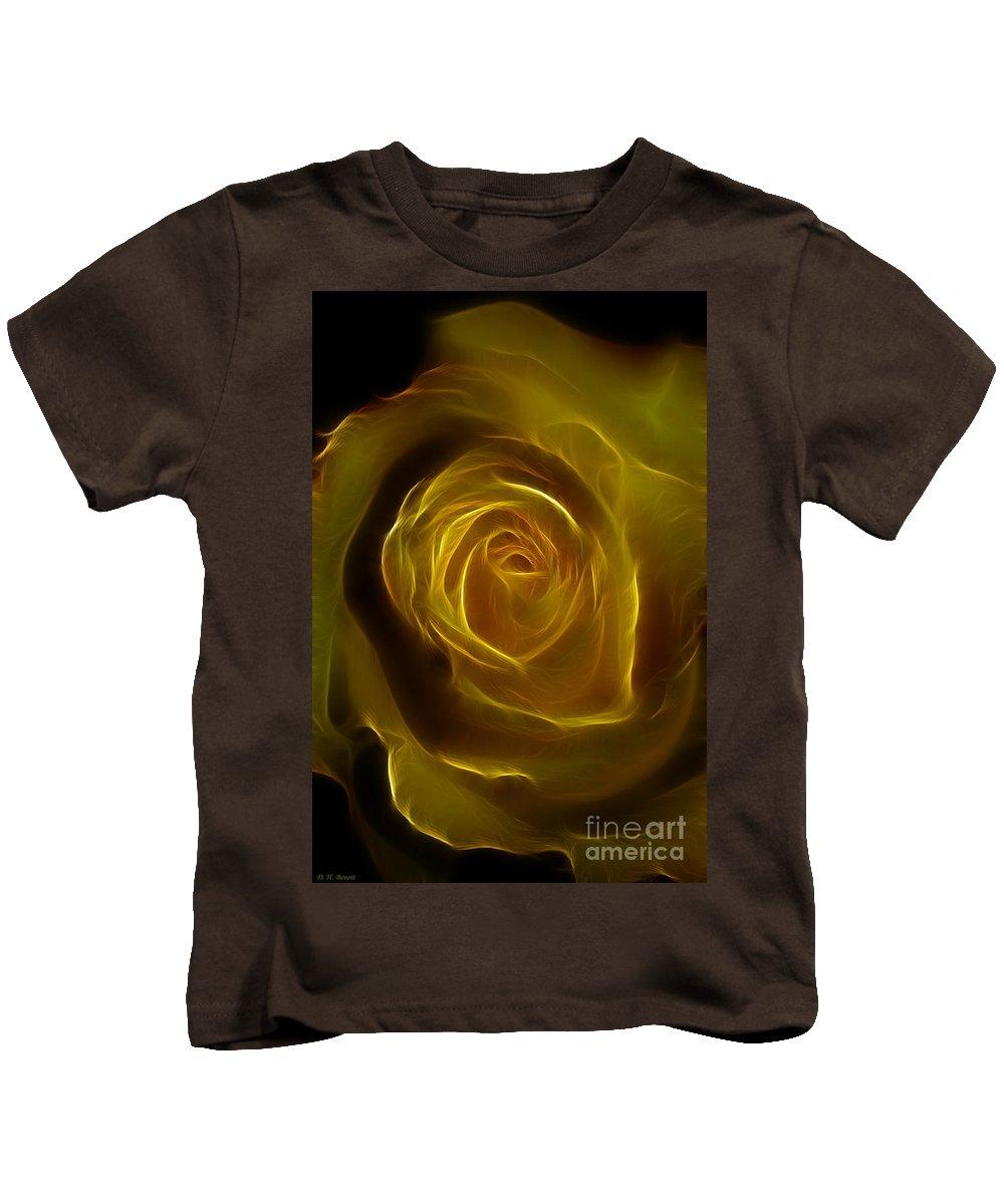 Yellow Kids T-Shirt featuring the photograph A Rose Of Yellow by Deborah Benoit