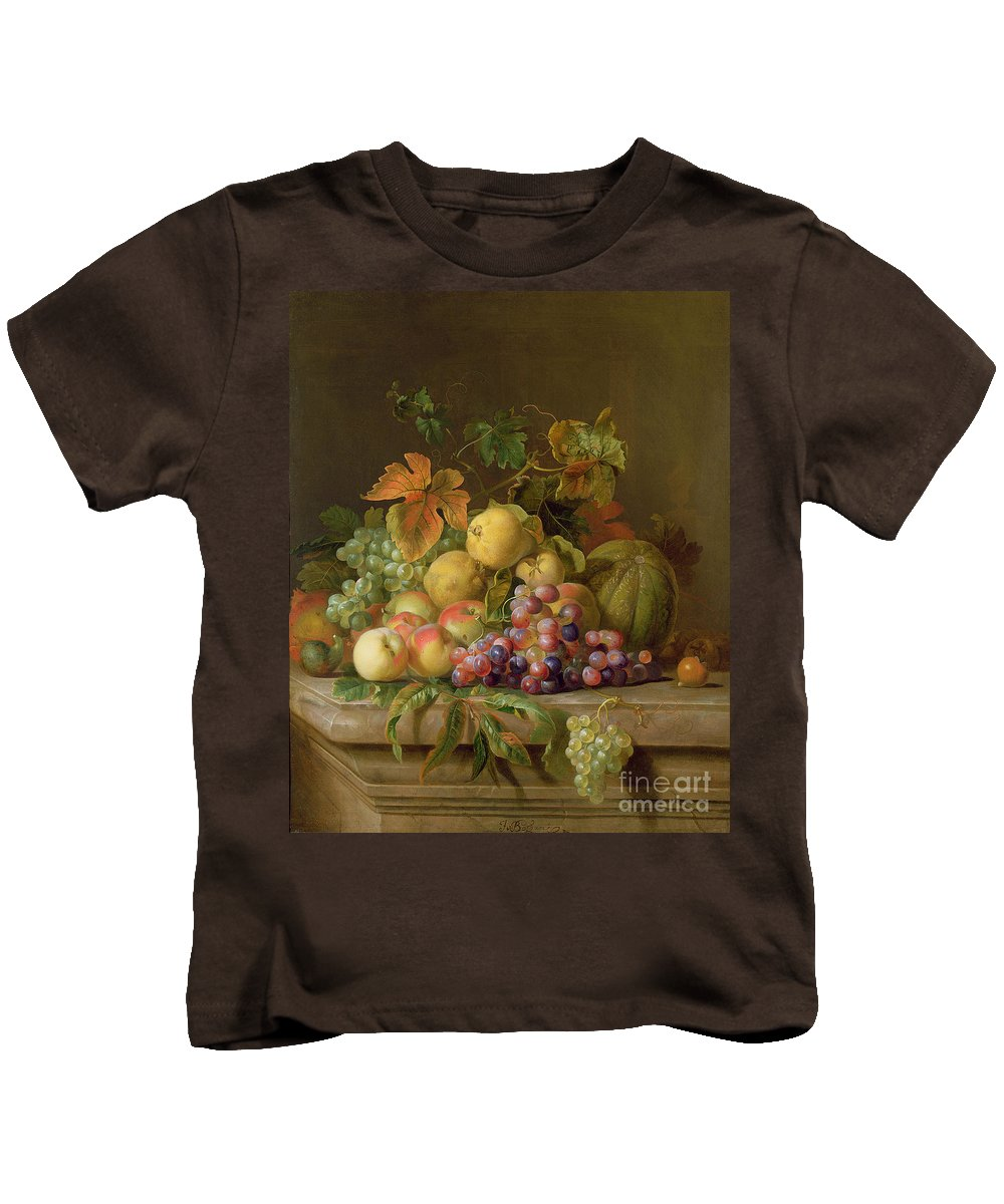 Still Kids T-Shirt featuring the painting A Still Life Of Melons Grapes And Peaches On A Ledge by Jakob Bogdani