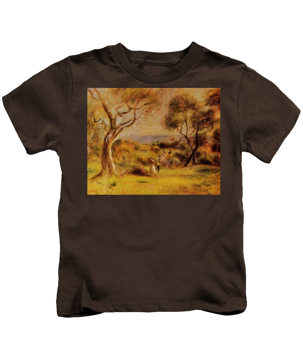 A Kids T-Shirt featuring the painting A Walk By The Sea 1915 by Renoir PierreAuguste
