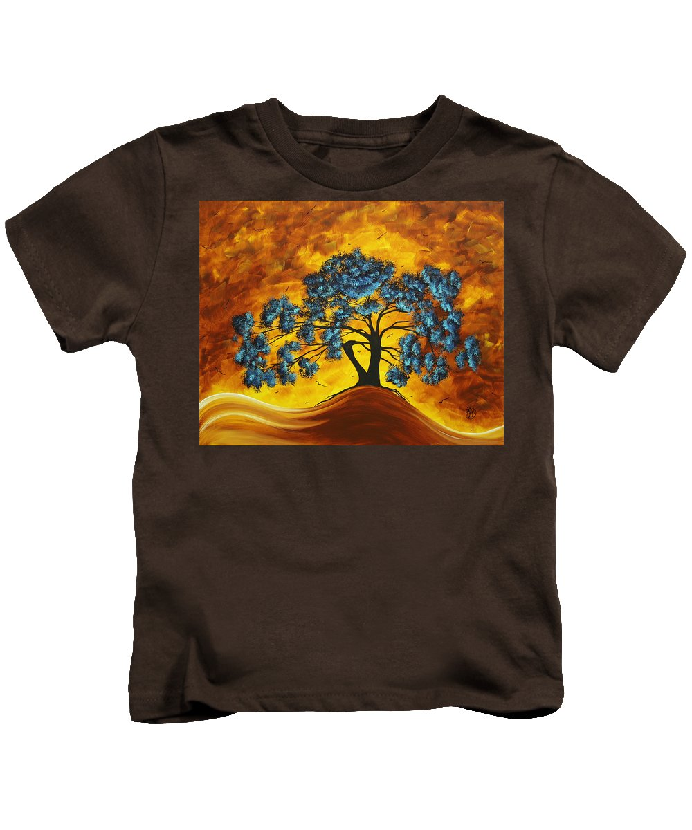 Abstract Kids T-Shirt featuring the painting Abstract Art Original Landscape Painting Dreaming In Color By Madartmadart by Megan Duncanson