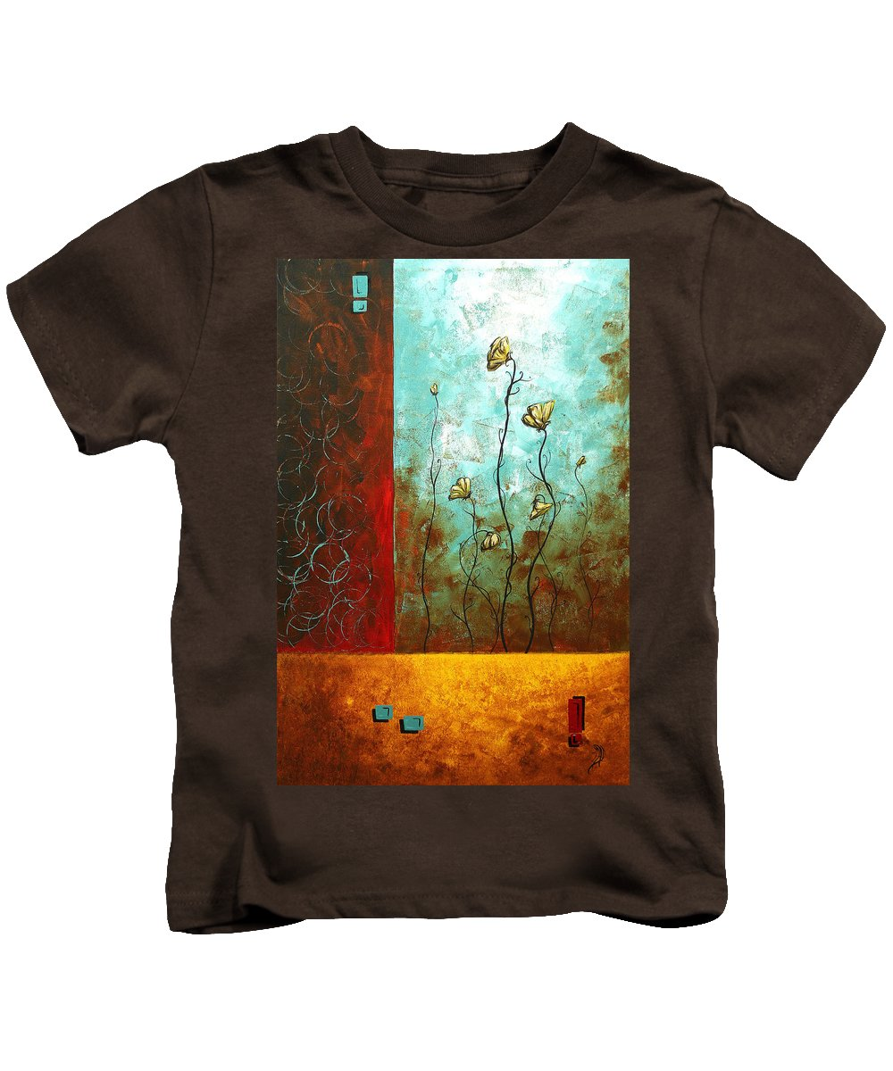 Abstract Kids T-Shirt featuring the painting Abstract Art Original Poppy Flower Painting Subtle Changes By Madart by Megan Duncanson